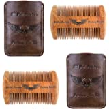 Double Wooden Beard Comb Kit Handmade Gifts for Men Skull Wings Design Gifts for Dad Mustache Comb for Beard Care & Grooming