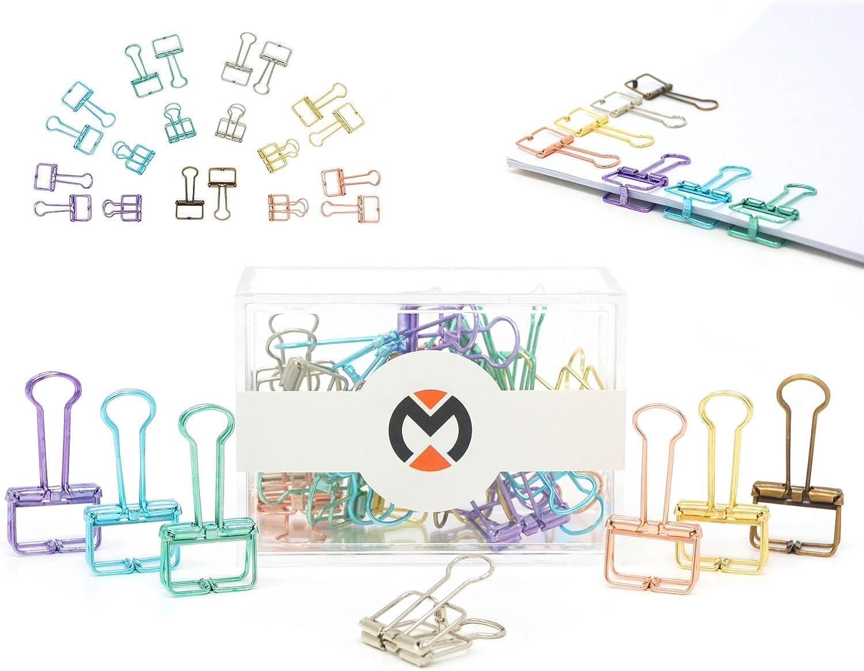 foldback binder clips en m/étal pour papier dessin et paquet MOONDAY Pinces Double Clip Largeur 32mm Lot de 10 multicolores pinces /à dessin fil de fer