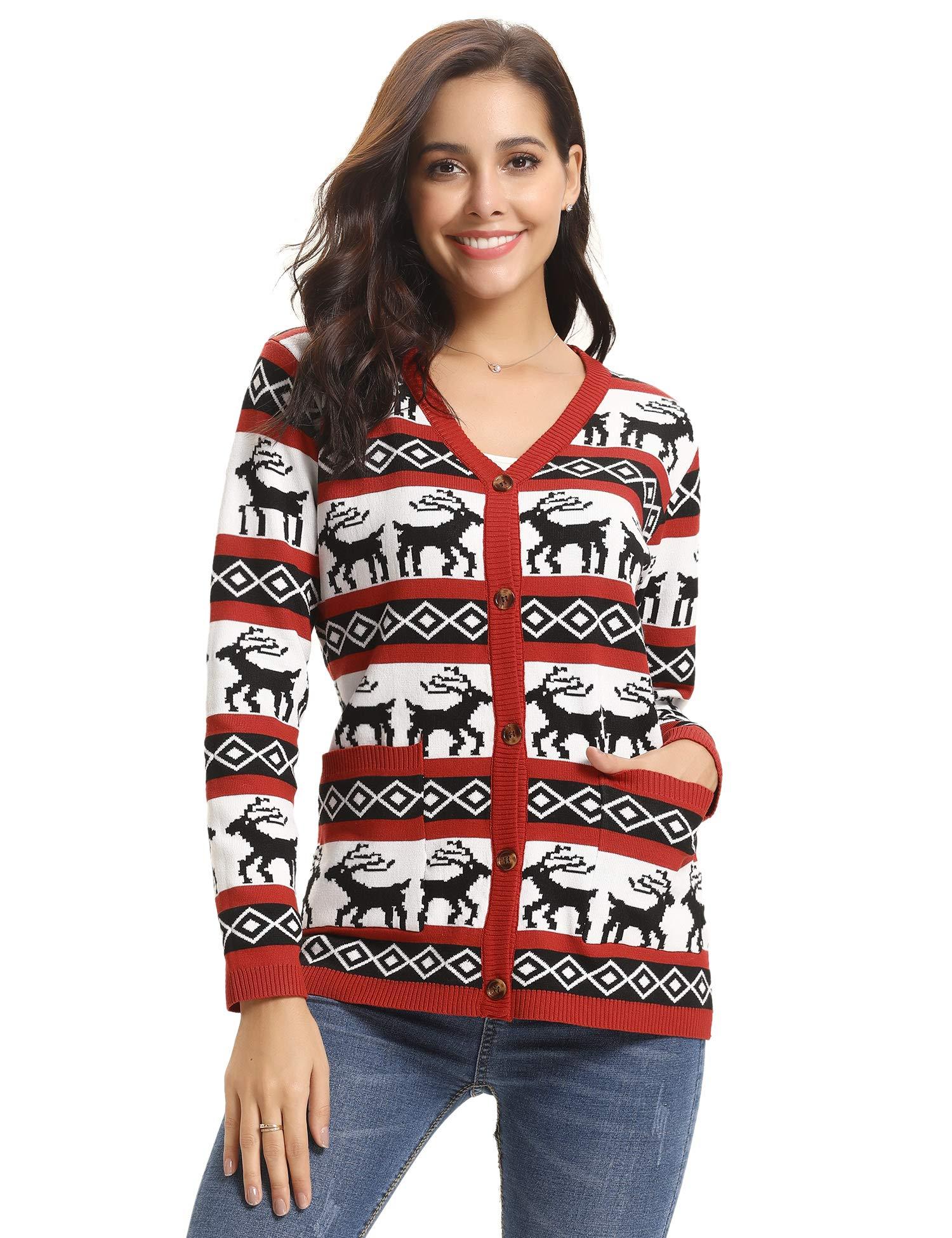5141c3188846 Abollria Pull Femme Noël Sweater Tricot Coton Joyeux Christmas Top T-Shirt  Motif Flocon de