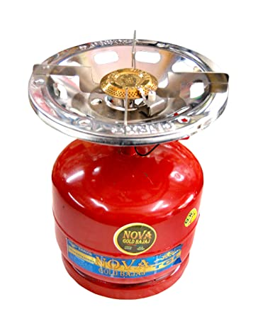 Shanta Trader 23168123 Portable Lpg Gas Cylinder With Single Burner Mini  2Kg Red Color Perfect For