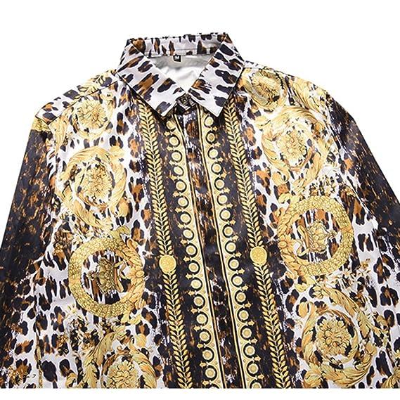 7c7dfc8dc7 HUAN Camisa de Tallas Grandes para Hombre Boho - Camisa de Manga Larga  Estampada con Estampado de Leopardo - Camisas Estampadas de Leopardo de  Moda (Color ...