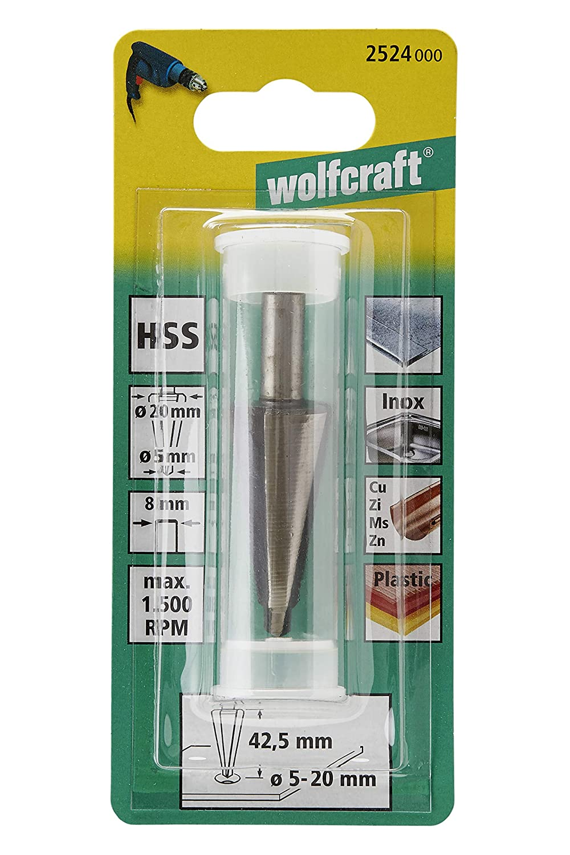 Wolfcraft Lochfräser HSS 8mm Durchmesser 5-20 mm