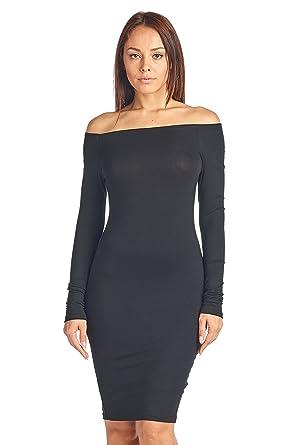 650a31ff6c39 Sharon's Outlet Long Sleeve Off Shoulder Dress: Printed & Solid ...