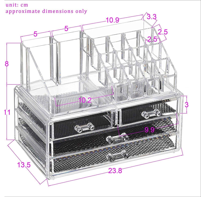 Crisnails® Organizador Maquillaje Caja Cosméticos Transparente Acrílico 20 Compartimentos: Amazon.es: Belleza