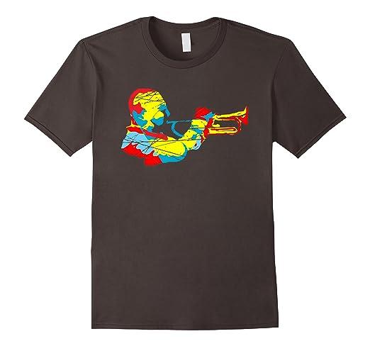 Mens Modern Trumpet Jazz Musician T-shirt 2XL Asphalt