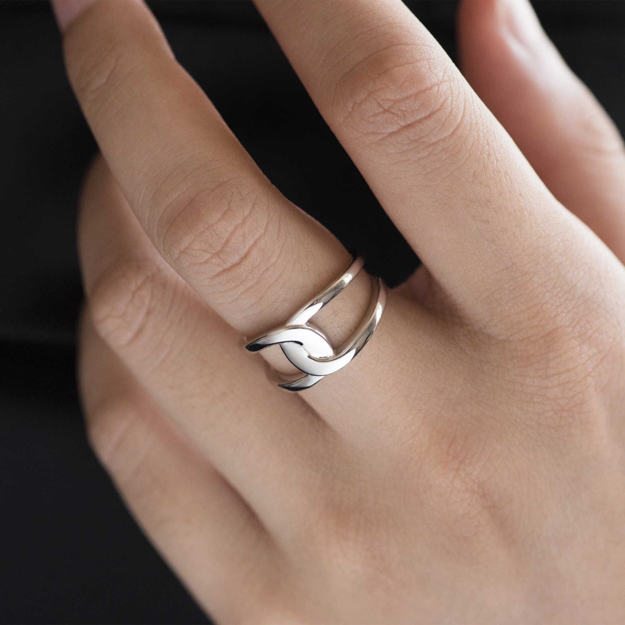 Fonsalette Gold Plated Infinity Ring Sterling Silver Open Twist Ring Two Band Ring (silver) by Fonsalette (Image #2)