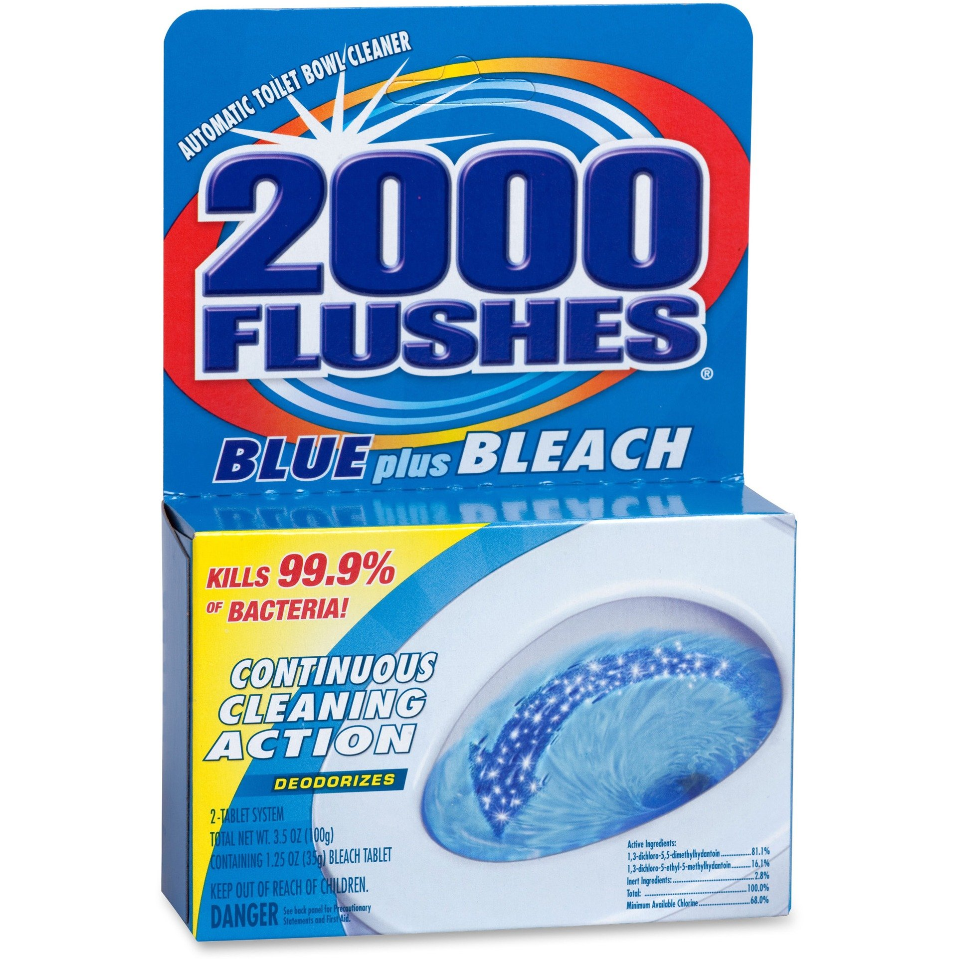 WD-40 Company Products - Cleaner, Toilet Bowl, w/ Bleach and Blue Detergents, 3-1/2 oz - Sold as 1 EA - Automatic Toilet Bowl Cleaner kills 99.9 percent of bacteria. Improved concentrated tablet delivers continuous cleaning action to sanitize, clean and d