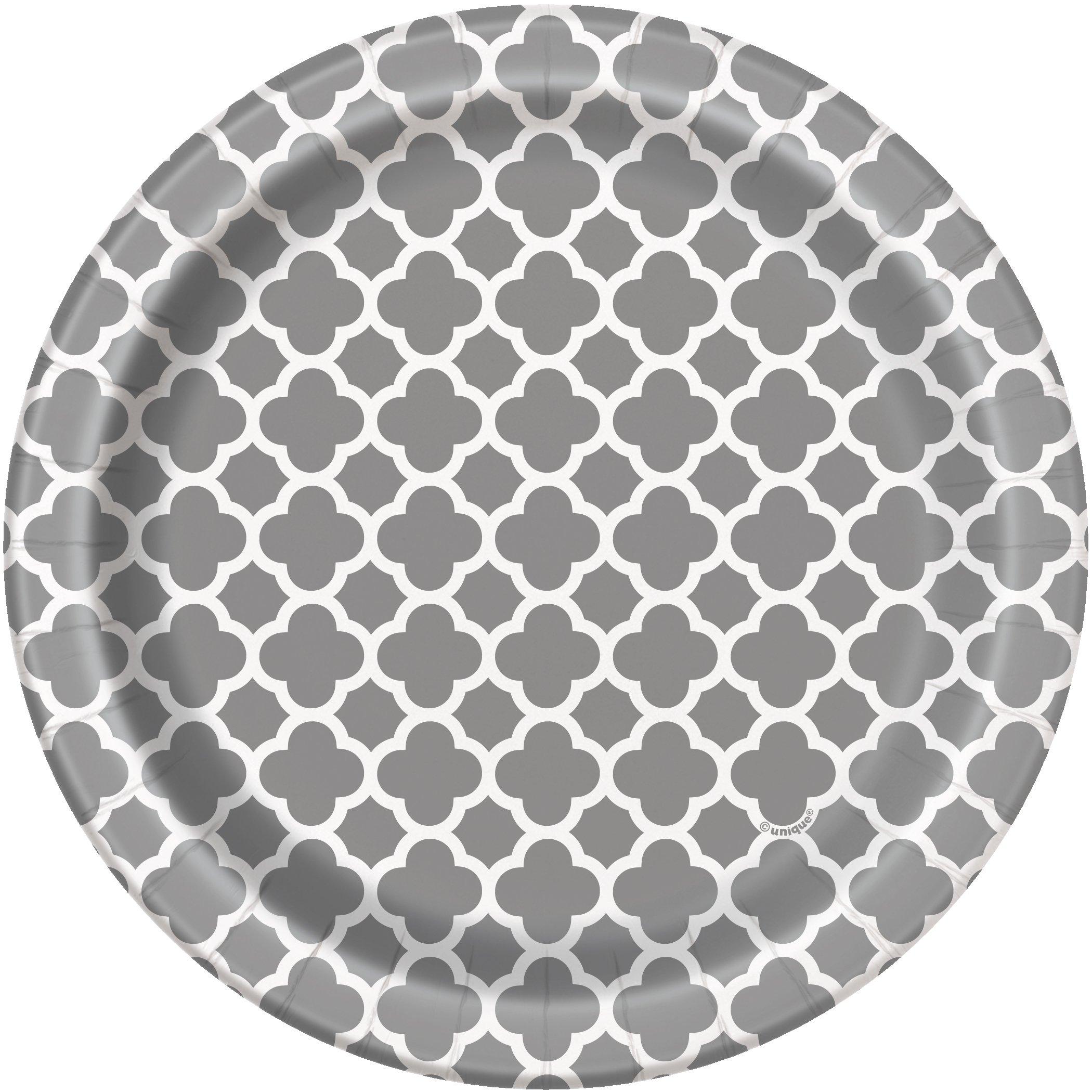 Silver Quatrefoil Paper Cake Plates, 8ct by Unique (Image #1)