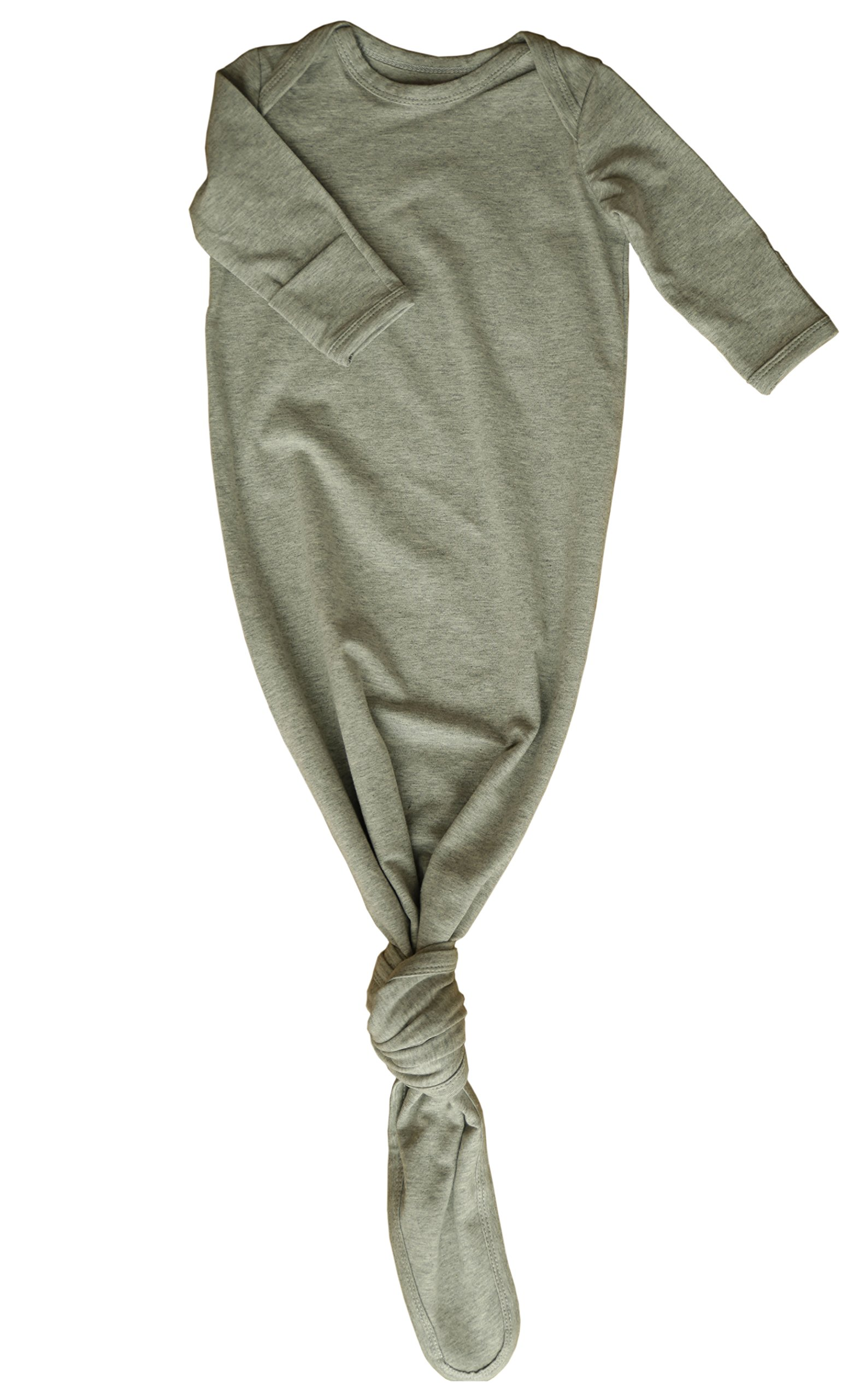Baby Gown Newborn, Knotted Infant Sleeper for Baby Girl and Boy in a Canvas Bag (0-3 Months, Grey)