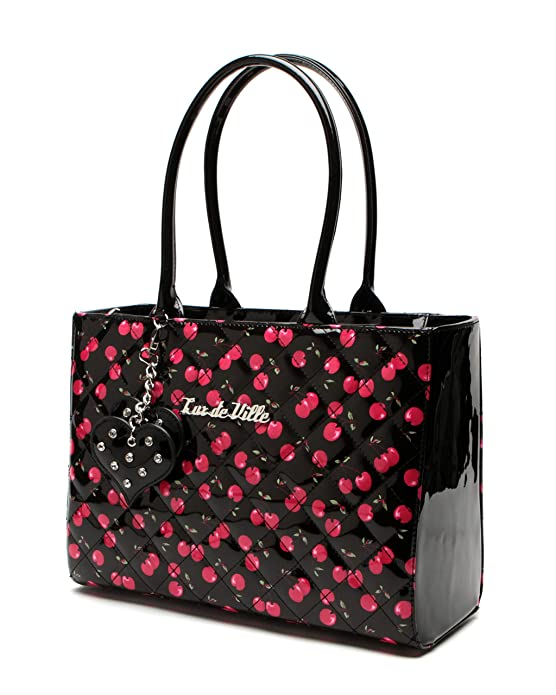 Retro Handbags, Purses, Wallets, Bags Lux de Ville Very Cherry Lucky Me Tote $89.96 AT vintagedancer.com