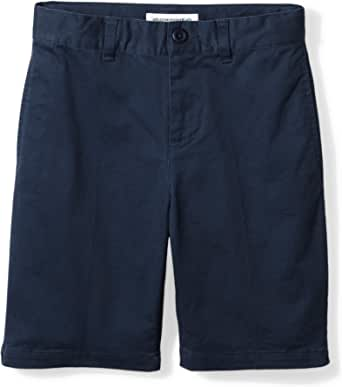 Light Khaki 8 Regular Essentials Kids Boys Woven Flat-Front Khaki Shorts