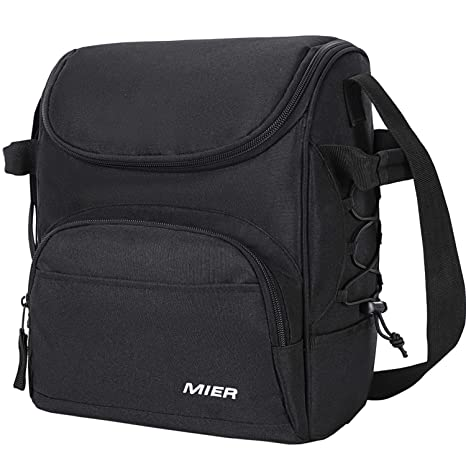 0ba922b2f0559 MIER 16 Can Insulated Lunch Box Bag for Women Men Large Leakproof Soft  Cooler Bag, Black