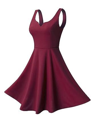 7d153e9b82 Missufe Women s Sleeveless Sweetheart Flared Mini Dress at Amazon ...