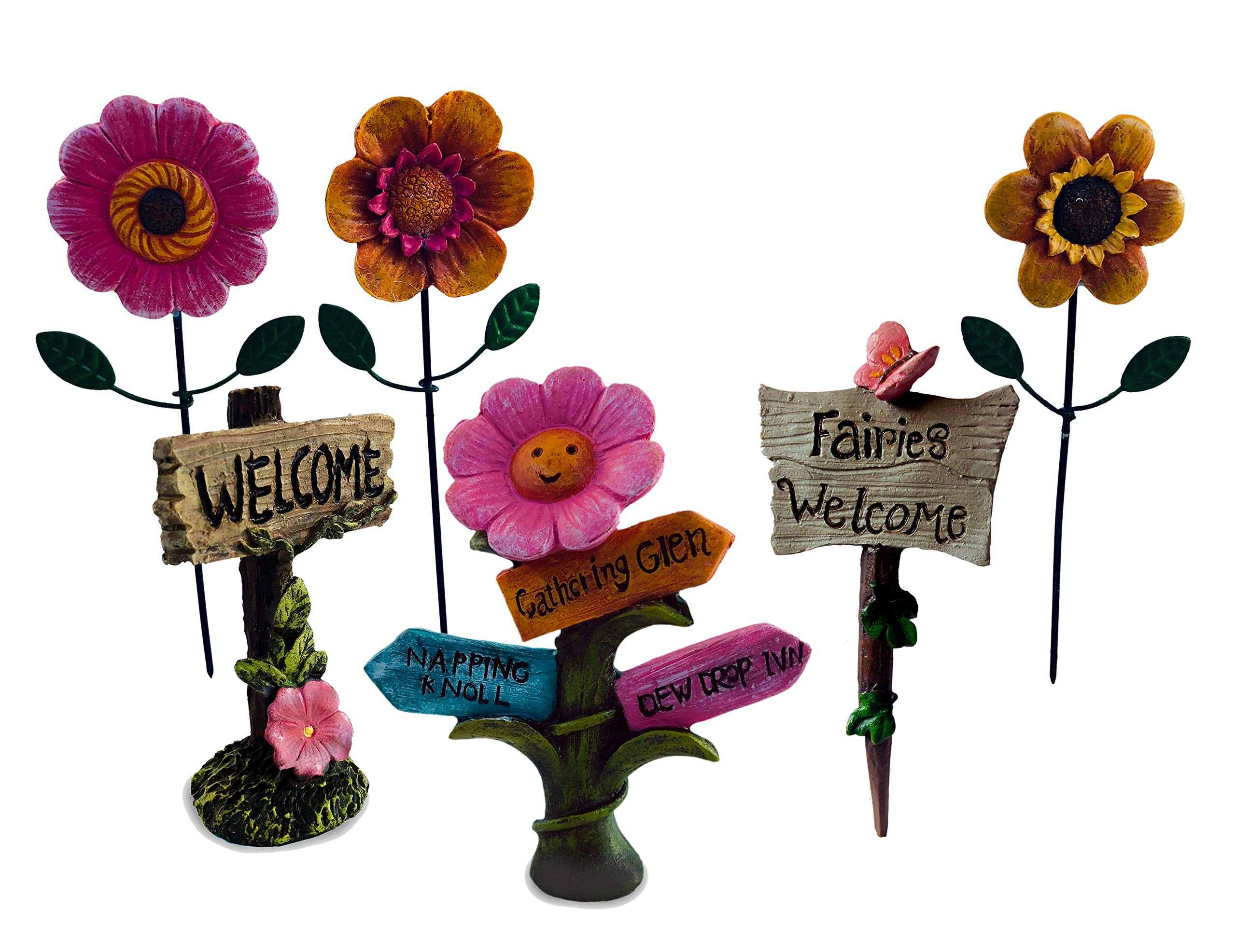 Fairy Signs and Miniature Flowers for Fairy Garden - Set of 6. Includes 3 Variations of Welcome Fairy Sign and 3 Fairy Garden Flowers with Picks