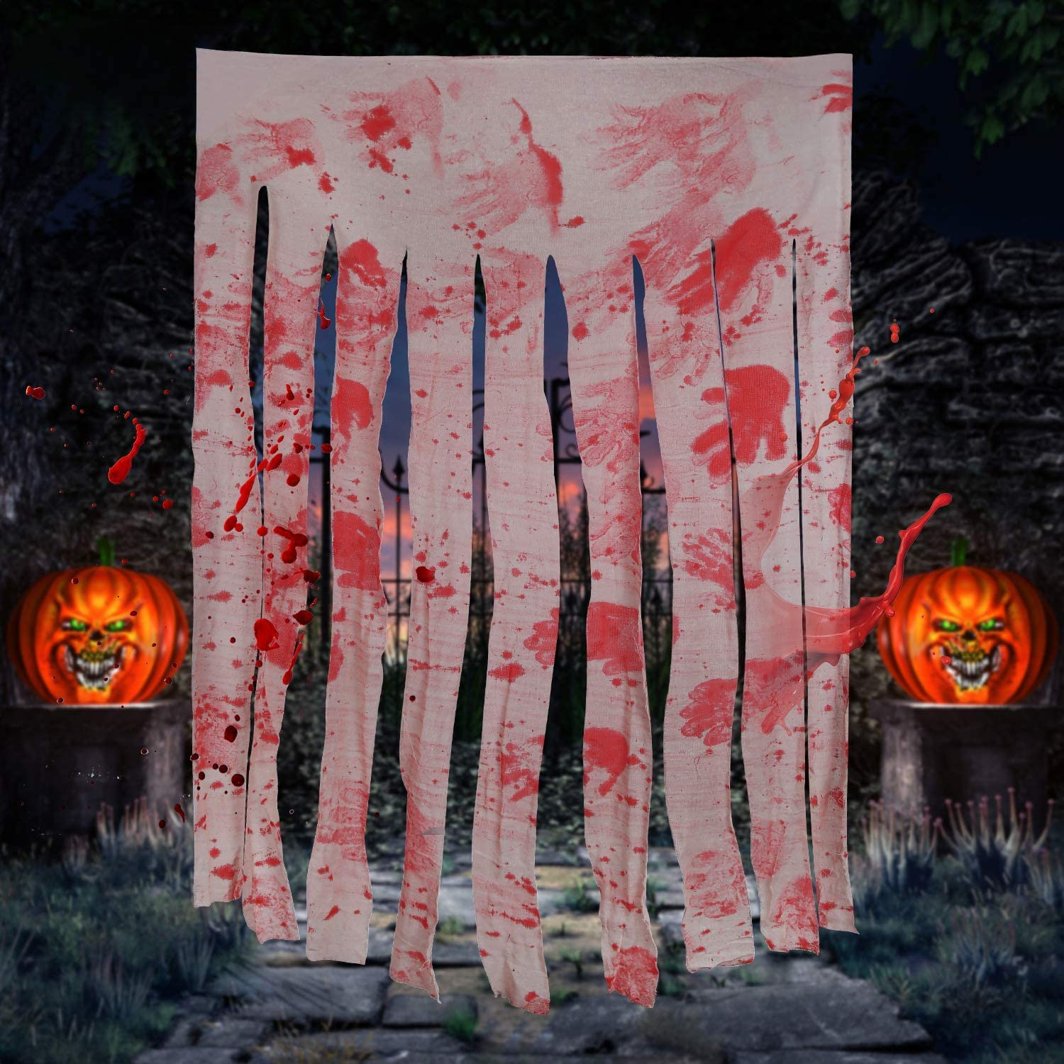 2 Pack Door Curtain Decoration with Bloody Hand Prints Bloody Doorway Curtain Creepy Cloth Haunted House Horror Decoration for Halloween Theme Party