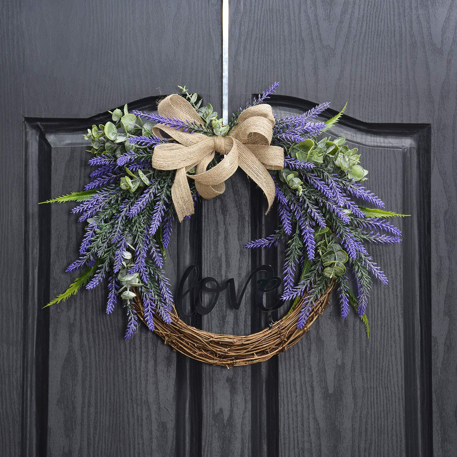 QUNWREATH Handmade 14 inch Lavender Series Wreath,Love Letter,Burlap Wreath,Fall Wreath,Wreath for Front Door,Rustic Wreath,Farmhouse Wreath,Grapevine Wreath,Light up Wreath,Everyday Wreath,QUNW03