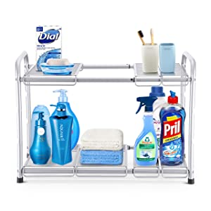 Simple Trending 2-Tier Under Sink Expandable Cabinet Shelf Organizer Rack for Kitchen Bathroom Storage, Silver