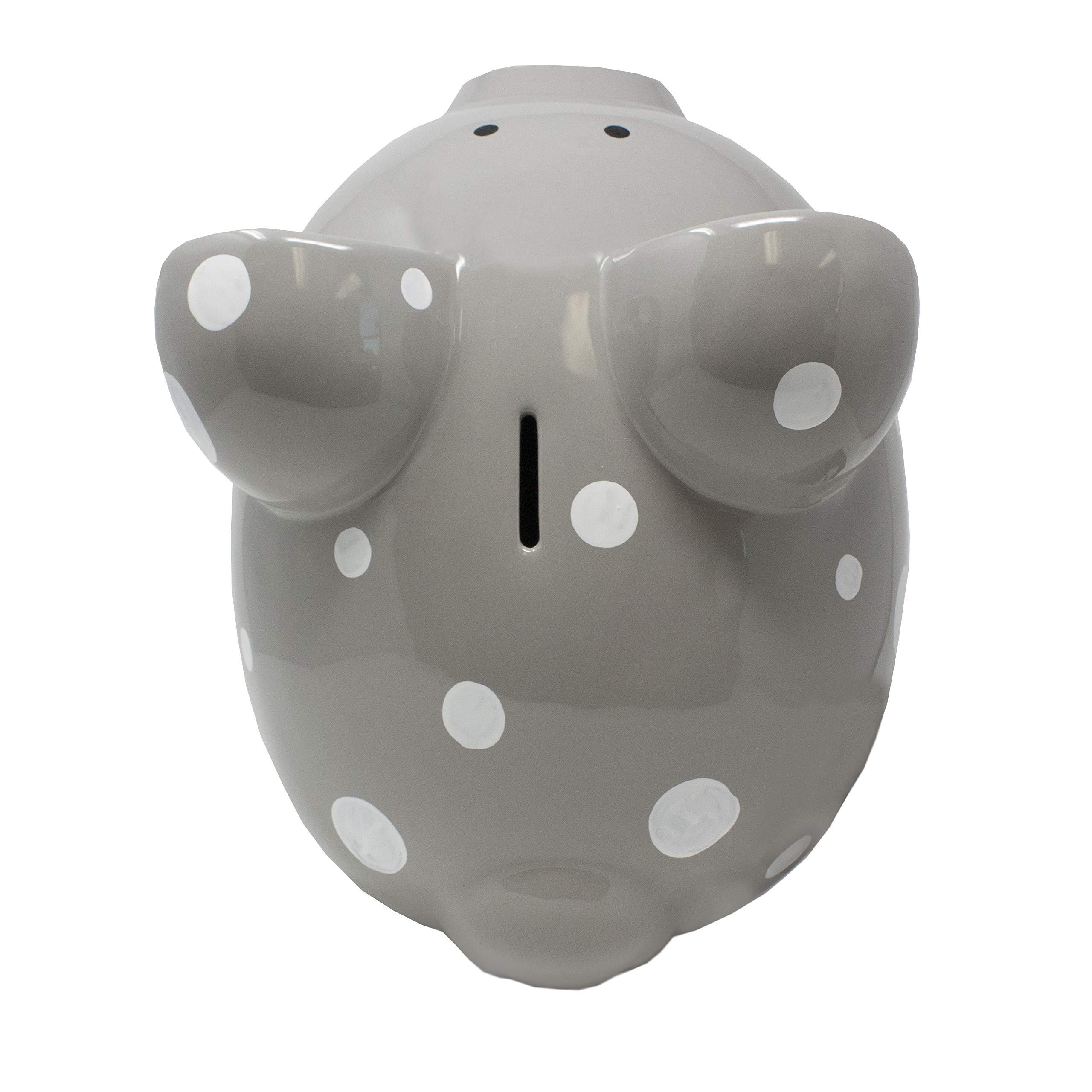 Child to Cherish Large Ceramic Boss Piggy Bank, Gray Polka Dot by Child to Cherish (Image #6)