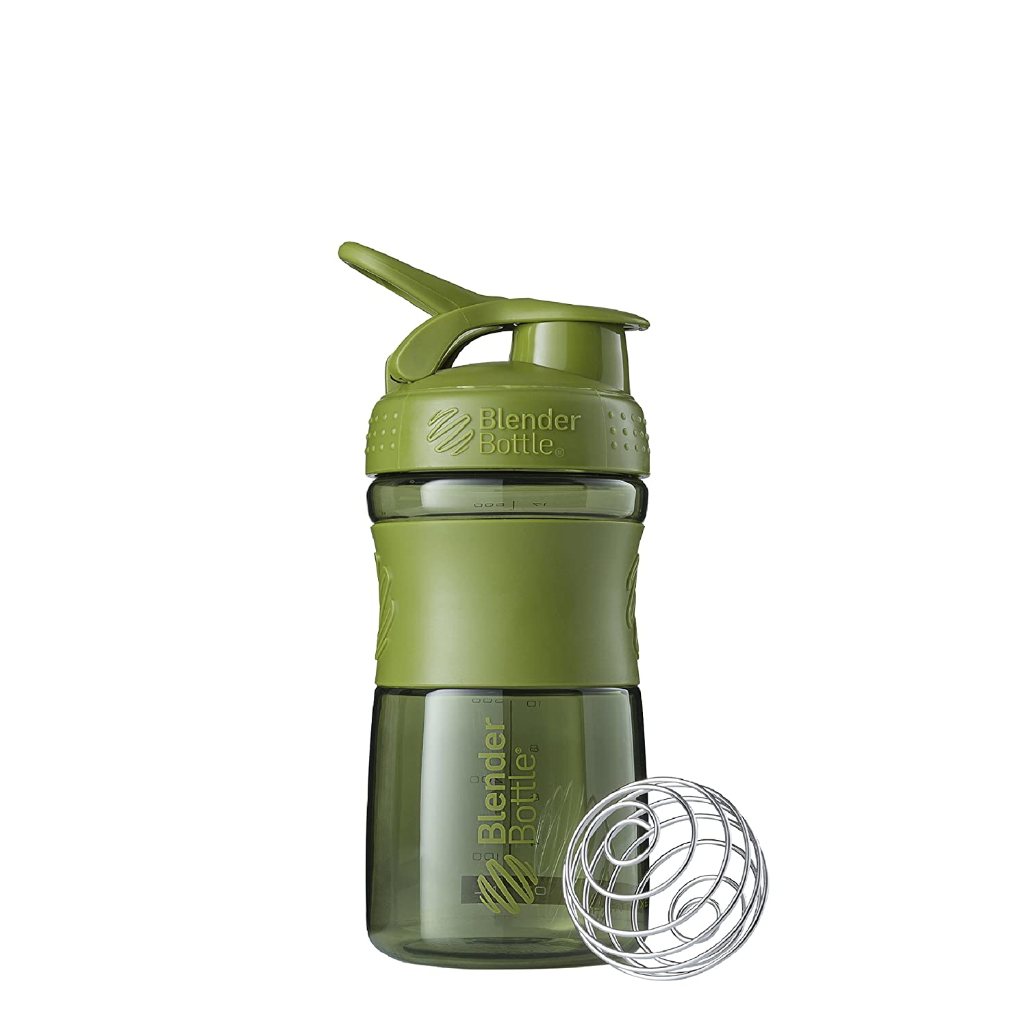 BlenderBottle SportMixer Tritan Grip Shaker Bottle, Moss Green, 20-Ounce