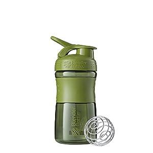 BlenderBottle SportMixer Tritan Grip Shaker Bottle, Moss Green, 20-Ounce