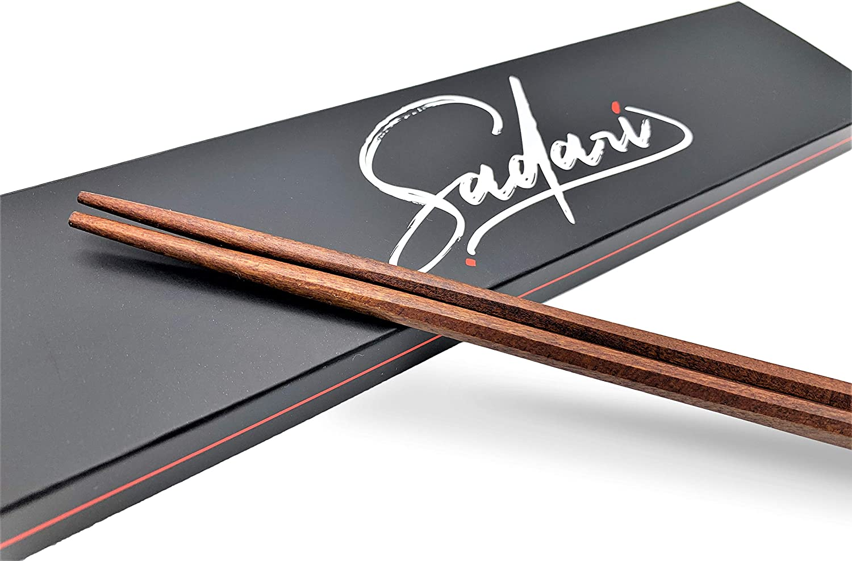 2 pairs Premium All Natural Wood Octa-Cut Chopsticks