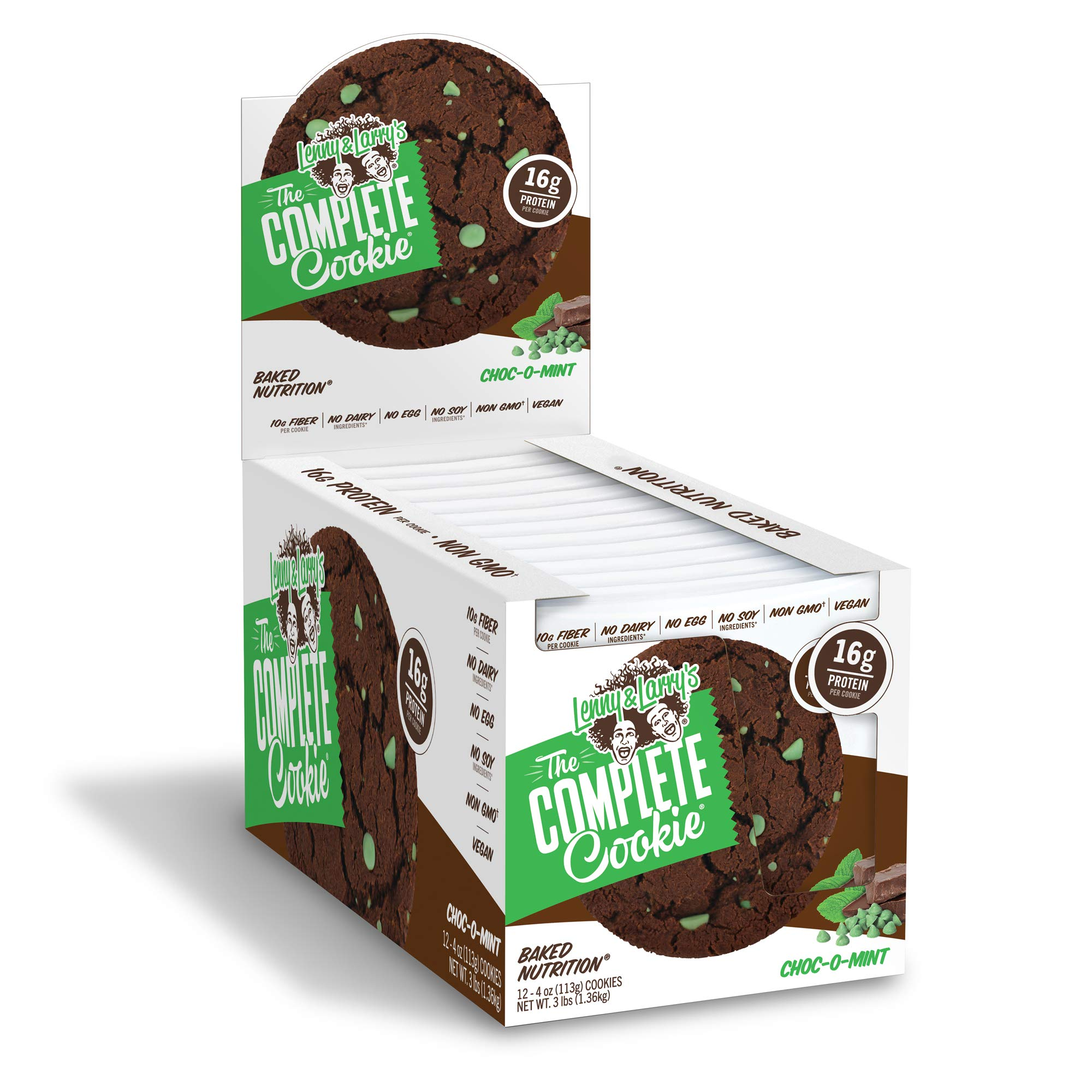 Lenny & Larry's The Complete Cookie, Choc-O-Mint, Soft Baked, 16g Plant Protein, Vegan,4-Ounce Cookies (Pack of 12)