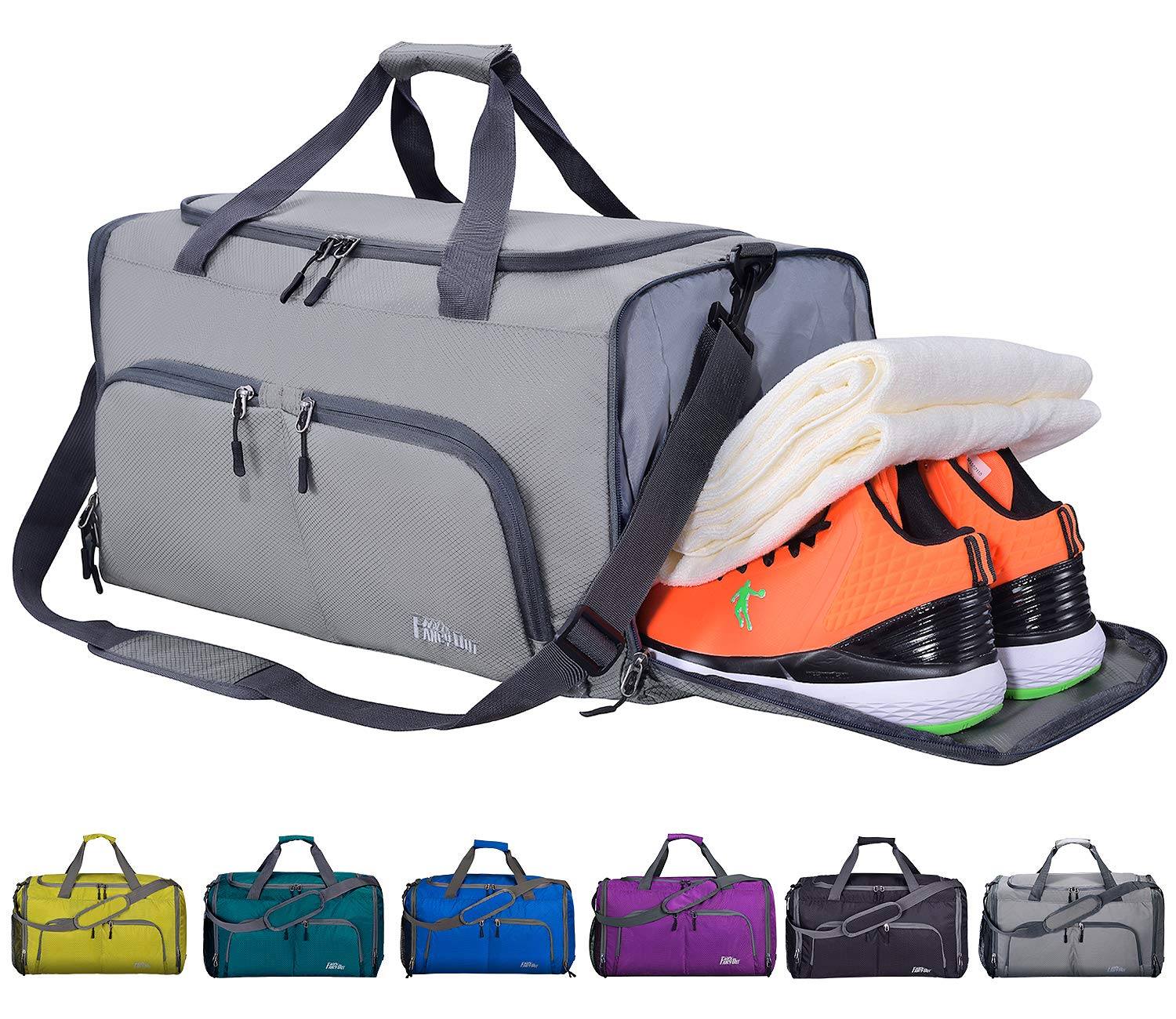 3767117ed03f FANCYOUT Foldable Sports Gym Bag with Shoes Compartment   Wet Pocket ...
