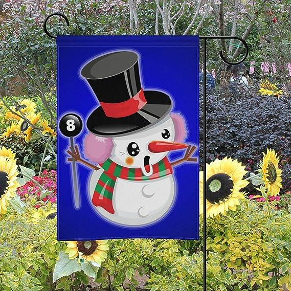LINDATOP - Bandera de jardín con diseño de muñeco de Nieve y Texto Merry Christmas (30, 5 x 45, 7 cm), poliéster, Multi-4, 12x18(in): Amazon.es: Jardín