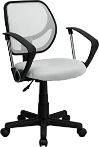 Flash Furniture Low Back White Mesh Swivel Task Office Chair with Arms