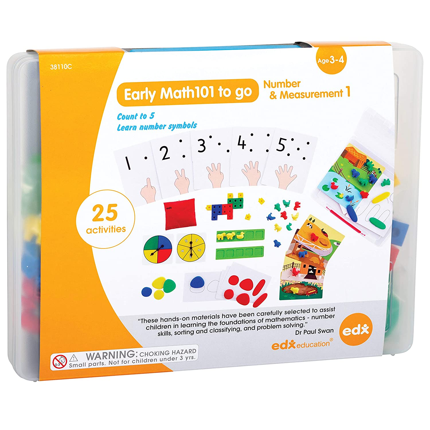 Edx Education Early Math101 to go - Ages 3-4 - Number & Measurement - in Home Learning Kit for Kids - Homeschool Math Resources with 25+ Guided Activities