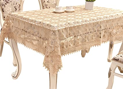 Adasmile Handmade Lace Fabric Crocheted Patterns Tablecloth/Table Cover  With Red Flowers For Rectangle Tables