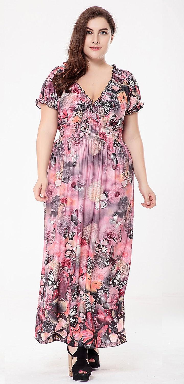 Lukis Damen Große Größen Langes Kleid Blumen Sommerkleider ...