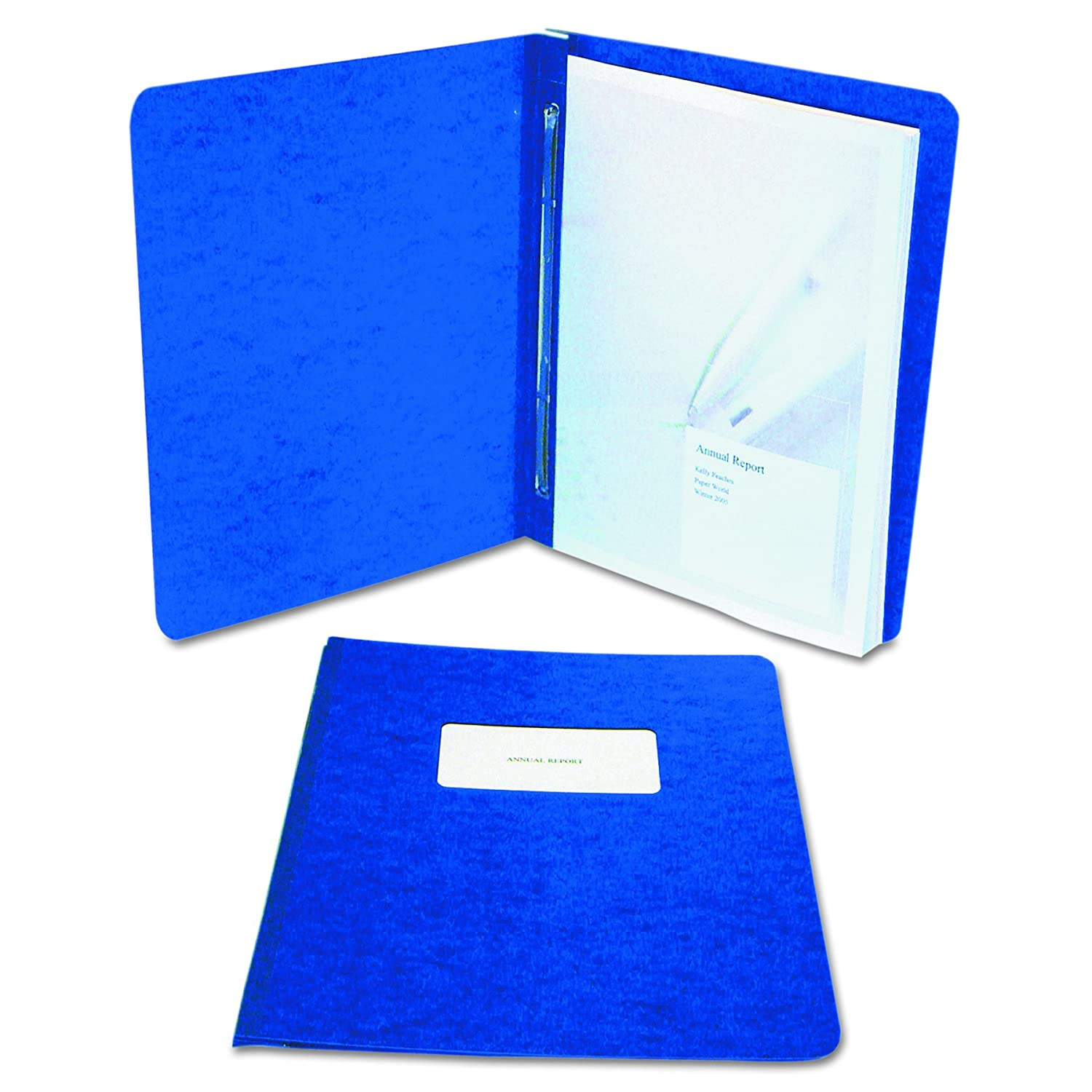 A7025072A 3 Inch Capacity Tyvek Reinforced Hinge ACCO PRESSTEX Report Cover Side Bound 8.5 Inch Centers Light Blue Letter Size