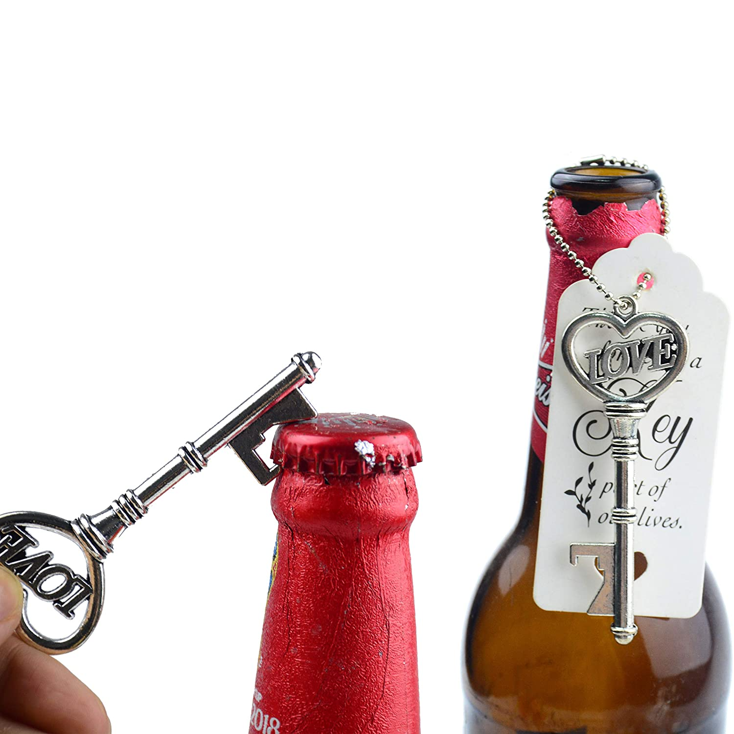 Aokbean 52pcs Antique Vintage Skeleton LOVE Key Bottle Opener Romantic Wedding Decoration Guest Souvenir Gift Set with Escort Thank You Tag Card and Keychain