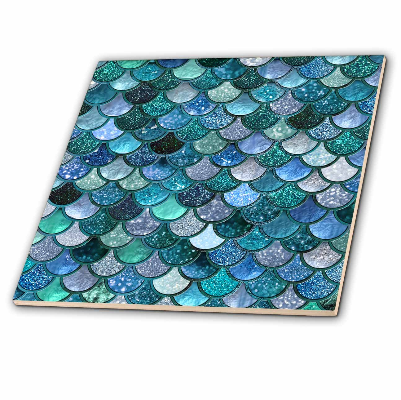 3dRose Uta Naumann Faux Glitter Pattern ct/_272861/_3 8 Inch Ceramic Tile Multicolor Girly Trend Blue Luxury Elegant Mermaid Scales Glitter