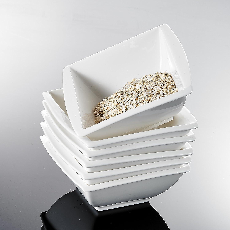 Cuencos de Porcelana Blanco Crema Cuencos de Cereales 14.5X14.5X6 cm para 6 Personas