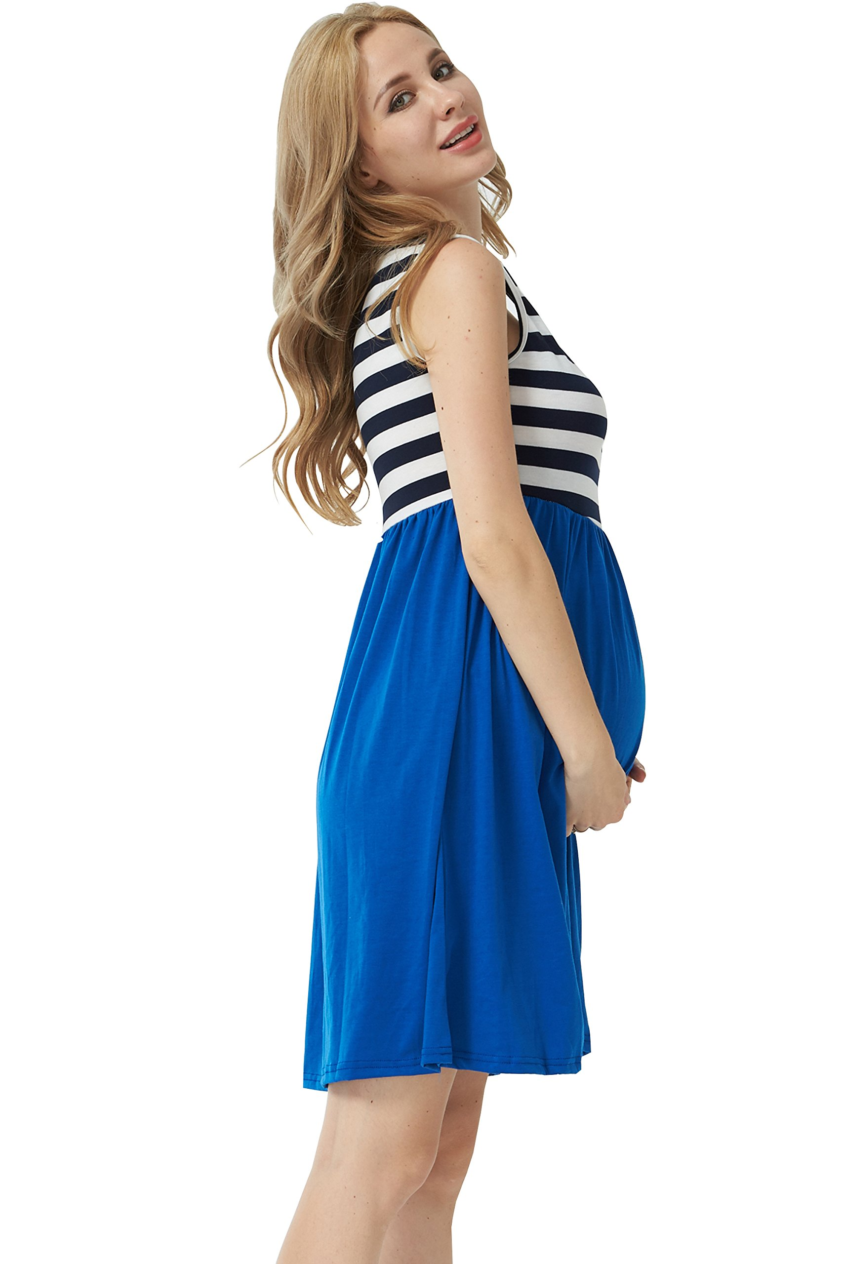 MANNEW Maternity Maxi Dress Pregnancy Tank Tops Knee Length Stitching Color Block Stripe Skirt (Blue, X-Large) by MANNEW (Image #5)