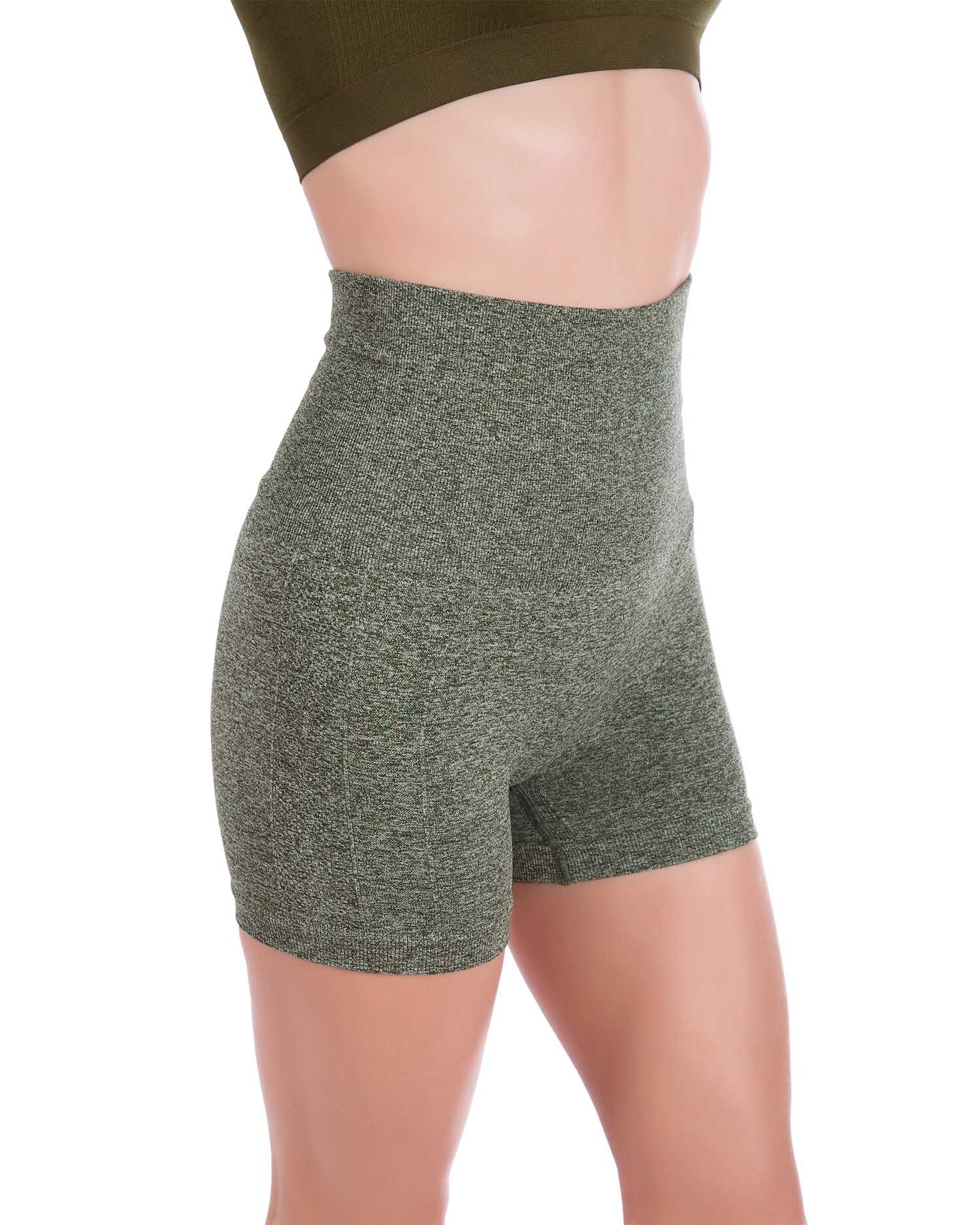 Homma Women's Tummy Control Fitness Workout Running Yoga Shorts (Large, H.Olive 2) by Homma
