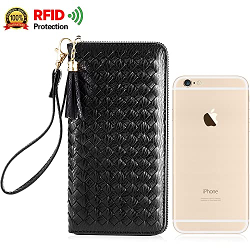 RFID Checkbook/Phone Tassel Zipper Clutch Wristlet Women Wallets, Multifunctional Fahion Design, Black [KARNI SOUL]