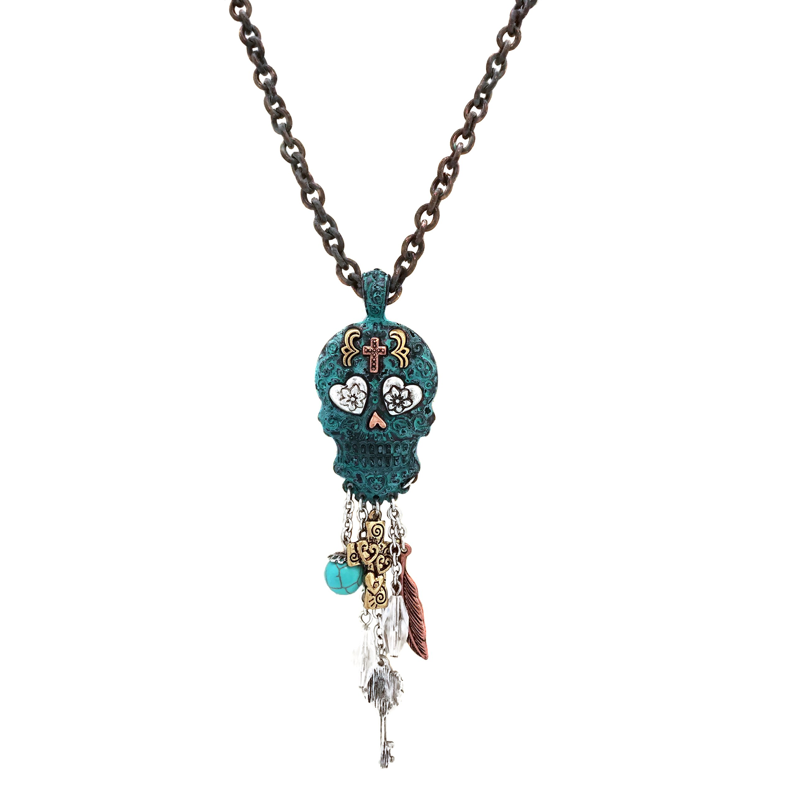 Elosee Charm Dangling Sugar Skull Pendant Long Necklace 30 inch / 76cm