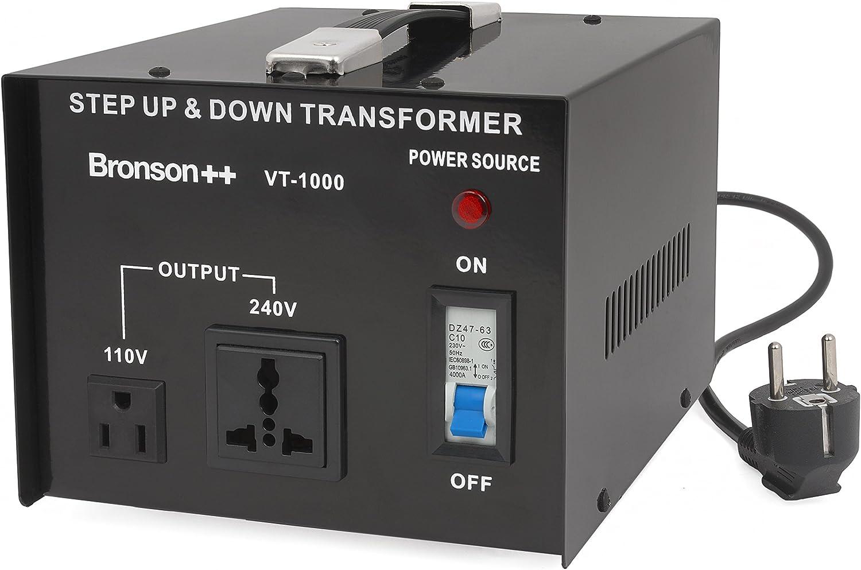Bronson++ VT 1000 - Transformador Elevador/Reductor de Voltaje de 1000 Vatios EE.UU.: Amazon.es: Electrónica