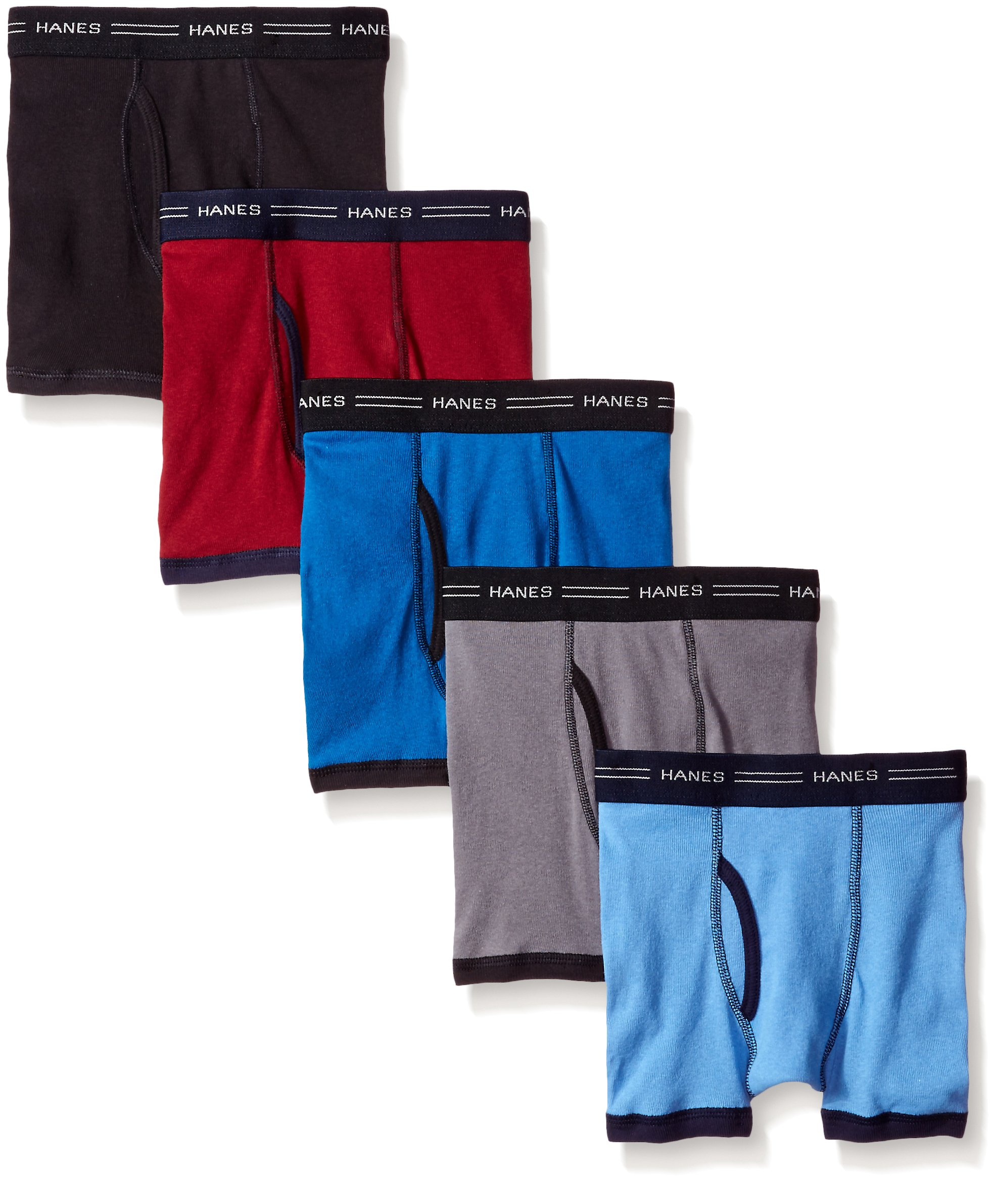 Hanes Boys 5-Pack Ringer Boxer Brief, Medium-Assorted Colors