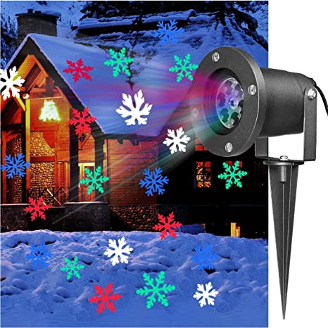 Colorful Christmas Lights On House.Yunlights Christmas Light Projector Colorful Moving Snowflakes Waterproof Led Landscape Projector Light For Indoor Outdoor New Year Xmas Home