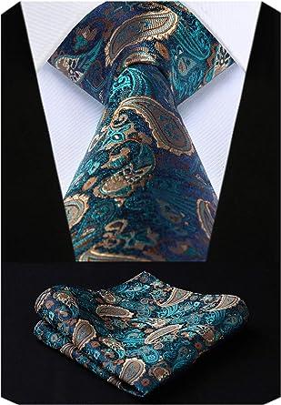 "Navy Blue Woven Classic Men/'s Neckties 3.4/"" Silk Pocket Square Handkerchief Sets"