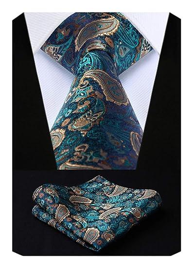 a5c12466a357 HISDERN Men's Paisley Silk Tie With Handkerchief Classic Necktie & Pocket  Square Set (Aqua &