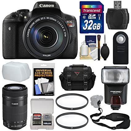Canon Eos Rebel T6i Wi Fi Digital Slr Camera Ef S 18 135mm Is 55 250mm Is Stm Lens With 32gb Card Case Strap Filters Flash Kit