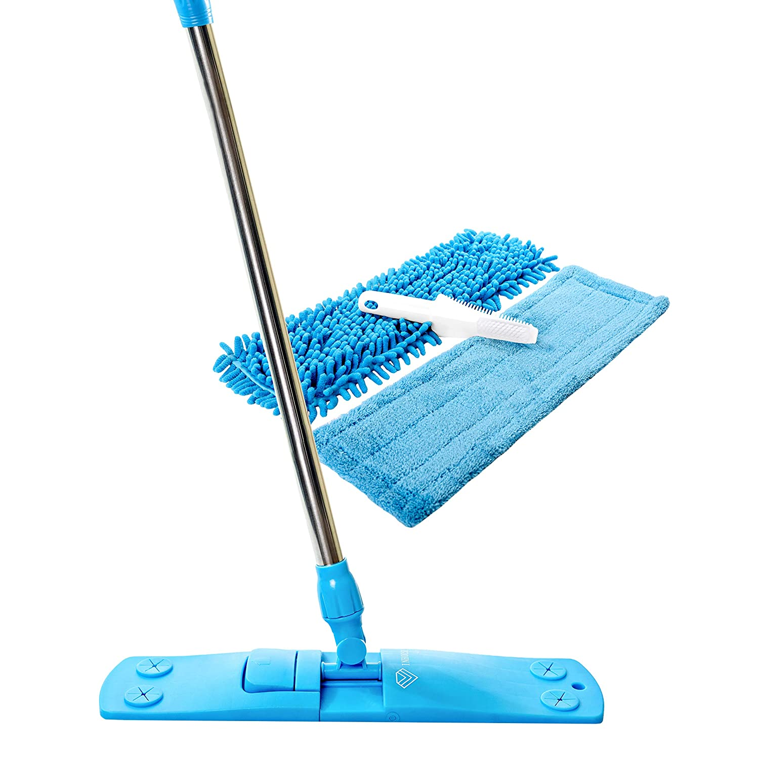 Professional Dust Mop with Enhanced Holding Mechanism & Stainless Steel Telescopic Handle – Floor Cleaner with 2 Microfiber Mop Pads & Brush Cleaner – For Wet or Dry Floor Cleaning
