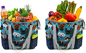 Durable Insulated Cooler Shopping Bags for Groceries Beach Travel Hot Cold Frozen Food Transport Extra-Large Thermal Food Delivery Bags Set of 2 with Zipper Heavy Duty Teal Blue Cute Dog Printed