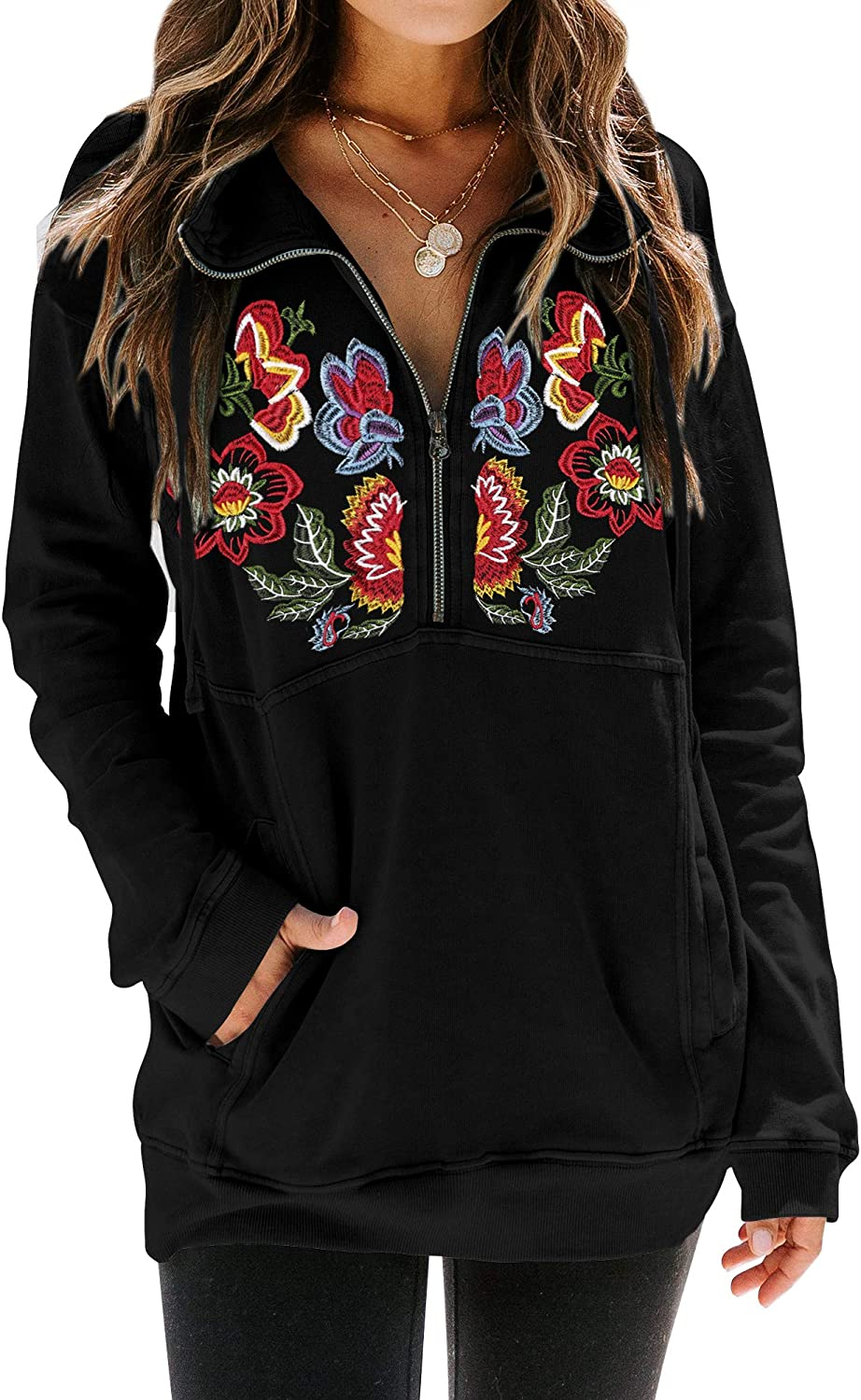 MYMORE Women's Floral Embroidery Shirt Drawstring Half Zip Up Long Sleeve Pullover Sweatshirt Top with Pockets at  Women's Clothing store