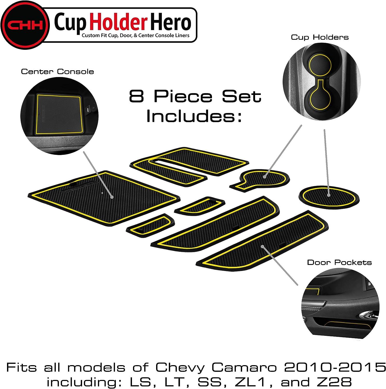Center Console Liner Mats Door Pocket Liners 8-pc Set CupHolderHero for Chevy Camaro Accessories 2010-2015 Premium Custom Interior Non-Slip Anti Dust Cup Holder Inserts Solid Black